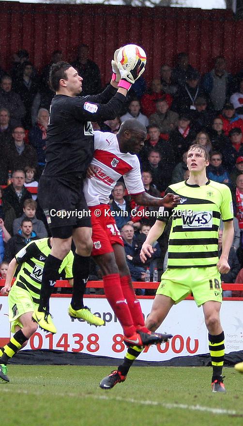 Marek Stech of Yeovil collects under pressure from Bondz N'Gala of Stevenage. Stevenage v Yeovil Town- npower League 1 -  Lamex Stadium, Stevenage - 13th April, 2013. © Kevin Coleman 2013.. . . . .. . . .  . . .  .