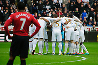 Sunday, 23 November 2012<br /> <br /> Pictured: Swans Huddle<br /> <br /> Re: Barclays Premier League, Swansea City FC v Manchester United at the Liberty Stadium, south Wales.