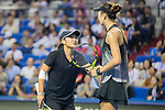 Xinyu Jiang (L) and Qianhui Tang (R) of China talks during the doubles Round Robin match of the WTA Elite Trophy Zhuhai 2017 against Alicja Rosolska of Poland and Anna Smith of Great Britain at Hengqin Tennis Center on November  03, 2017 in Zhuhai, China.  Photo by Yu Chun Christopher Wong / Power Sport Images