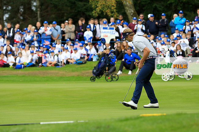 Sam Burns (USA) gets another birdie on the 17th green during Day 2 Singles for the Junior Ryder Cup 2014 at Blairgowrie Golf Club on Tuesday 23rd September 2014.<br /> Picture:  Thos Caffrey / www.golffile.ie