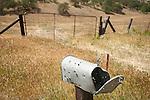 Shot-up metal mailbox along the highway, San Benito County, Calif.
