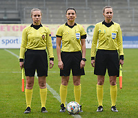 20190409  - Tubize , BELGIUM : referee Angelika Soeder (M) with assistant referees Shauni Depruyst (L) and Sina Diekmann (R) pictured during the soccer match between the women under 19 teams of Switzerland and Finland , on the third matchday in group 2 of the UEFA Women Under19 Elite rounds in Tubize , Belgium. Tuesday 9 th April 2019 . PHOTO DIRK VUYLSTEKE / Sportpix.be