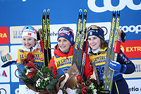 31st December 2019; Dobbiaco, Toblach, South Tyrol, Italy;  FIS Tour de Ski - Cross Country Ski World Cup 2019  in Dobbiaco, Toblach, on December 31, 2019; Womens individual 10km, Ingvild Flugstad Oestberg of Norway, Therese Johaug of Norway and Ebba Andersson of Sweden  on the podium