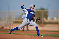 Los Angeles Dodgers pitcher MJ Villegas (37) during an instructional league game against the Cleveland Indians on October 15, 2015 at the Goodyear Ballpark Complex in Goodyear, Arizona.  (Mike Janes/Four Seam Images)