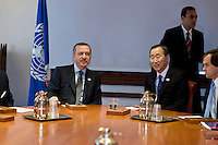 Rome,Italy, November 17, 2009. Il Primo Ministro Turco Recep Tayyip Erdogan con il Segretario Generale dell'Onu Ban Ki-Moon<br /> Turkish Prime Minister Recep Tayyip Erdogan (L) with Secretary-General of the United Nations Ban Ki-Moon in Rome.
