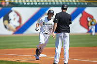 Stuart Fairchild (4) of the Wake Forest Demon Deacons rounds third base after hitting a home run against the Miami Hurricanes in Game Nine of the 2017 ACC Baseball Championship at Louisville Slugger Field on May 26, 2017 in Louisville, Kentucky. The Hurricanes defeated the Demon Deacons 5-2. (Brian Westerholt/Four Seam Images)