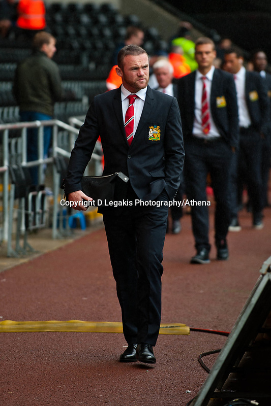 Saturday 17 August 2013<br /> <br /> Pictured: Wayne Rooney arriving at  the Liberty Stadium<br /> <br /> Re: Barclays Premier League Swansea City v Manchester United at the Liberty Stadium, Swansea, Wales