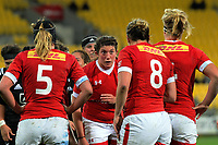 The Canada pack prepare for a scrum during the 2017 International Women's Rugby Series rugby match between the NZ Black Ferns and Canada at Westpac Stadium in Wellington, New Zealand on Friday, 9 June 2017. Photo: Dave Lintott / lintottphoto.co.nz