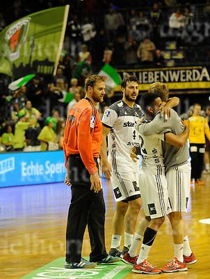 October 05-16,Max-Schmeling-Halle , Berlin,Germany<br /> Handball,F&uuml;chse Berlin vs THW Kiel<br /> Kiel gewinnt mit 26:18<br /> Goalkeeper Andreas Wolff,Domagoj Duvnjak,Raul Santos<br /> Kiel wins 26:18