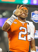 Charlotte, NC - December 3, 2017: Clemson Tigers quarterback Kelly Bryant (2) holds three fingers up after the ACC championship game between Miami and Clemson at Bank of America Stadium in Charlotte, NC.  Clemson defeated Miami 38-3 for their third consecutive championship title.(Photo by Elliott Brown/Media Images International)