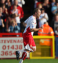 Charlie Griffin of Stevenage Borough celebrates scoring the penalty for his hat-trick during the Blue Square Premier match between Stevenage Borough and Hayes and Yeading United at the Lamex Stadium, Broadhall Way, Stevenage on 10th October, 2009..© Kevin Coleman 2009 .