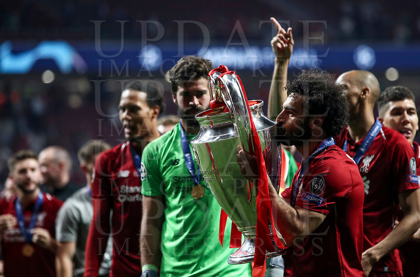 Liverpopol's Mohamed Salah kisses the trophy at the end of the UEFA Champions League final football match between Tottenham Hotspur and Liverpool at Madrid's Wanda Metropolitano Stadium, Spain, June 1, 2019. Liverpool won 2-0.<br /> UPDATE IMAGES PRESS/Isabella Bonotto
