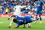 Real Madrid Mariano Diaz and U.D. Melilla Jilmar during King's Cup match between Real Madrid and U.D. Melilla at Santiago Bernabeu Stadium in Madrid, Spain. December 06, 2018. (ALTERPHOTOS/Borja B.Hojas)