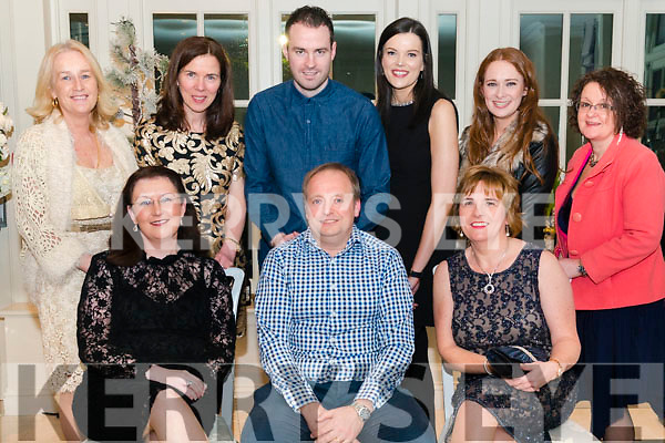 Presentation Secondary School Castleisland Christmas Party in the Heights Hotel, Killarney last Friday night. Front l-r Marita O'Sullivan, Padraig Kelliher (Deputy Principal) and Liz Cosgrave, back l-r Monica Murphy, Maria Kennelly, Pierce Dragon, Dayna Hurley, Katie O'Reilly and Anne Laurent.