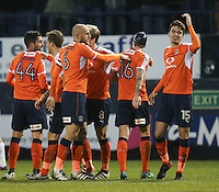 Alex Gilliead of Luton Town (right) celebrates after he scores his team's third goal of the game to make the score 3-1 during the Sky Bet League 2 match between Luton Town and Barnet at Kenilworth Road, Luton, England on 31 December 2016. Photo by David Horn.