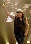AC/DC singer Brian Johnson pumps up the crown during the band's stop at the Toyota Center Sunday Dec. 14, 2008. (Dave Rossman for the Chronicle)