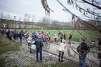 Peloton for the 1st passage on the cobbles of the Haaghoek<br /> <br /> 72nd Omloop Het Nieuwsblad 2017