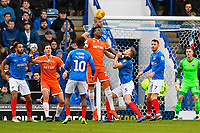 Jack Whatmough of Portsmouth wins a header from Armand Gnanduillet of Blackpool during Portsmouth vs Blackpool, Sky Bet EFL League 1 Football at Fratton Park on 12th January 2019