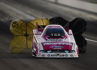 Oct. 27, 2012; Las Vegas, NV, USA: NHRA funny car driver Courtney Force during qualifying for the Big O Tires Nationals at The Strip in Las Vegas. Mandatory Credit: Mark J. Rebilas-