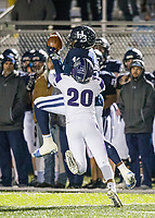 NWA Democrat-Gazette/BEN GOFF @NWABENGOFF<br /> Errington McRae, Springdale Har-Ber tight end, makes a catch as Aidan Garrison, Fayetteville free safety, defends in the fourth quarter Friday, Nov. 2, 2018, during the game at Wildcat Stadium in Springdale.