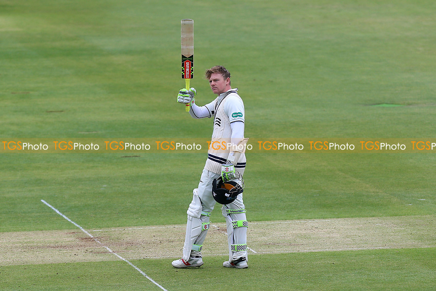 Sam Robson of Middlesex celebrates scoring a century, 100 runs during Middlesex CCC vs Essex CCC, Specsavers County Championship Division 1 Cricket at Lord's Cricket Ground on 21st April 2017