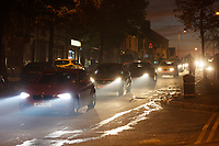 Pictured: Smoke makes driving conditions difficult in Mansel Street, near the scene of a fire in Swansea, Wales, UK. Wednesday 24 October 2018<br /> Re: Firefighters are battling a fire in Swansea, Wales, UK.<br /> The fire is in a back lane running parallel between Carlton Terrace and Mansel Street in the Mount Pleasant area.<br /> South Wales Fire and Rescue Service have confirmed that they are in attendance at the scene.