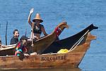Canoe Journey, Paddle to Nisqually, 2016, Lummi Tribe, Lummi canoes, arriving in Olympia, Washington, 7-30-2016, Salish Sea, Puget Sound, Washington State, USA,