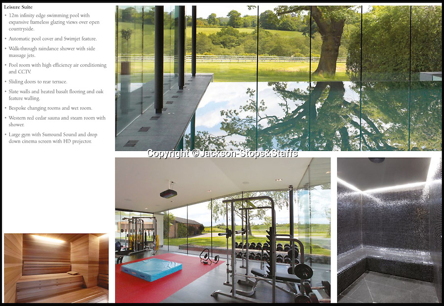 BNPS.co.uk (01202 558833)<br /> Pic: Jackson-Stops&amp;Staff/BNPS<br /> <br /> Pool, gym, sauna, wet room...<br /> <br />  For sale - Super home with its own leisure centre attached.<br /> <br /> The buyers of this stunning country property will never need to leave home again - with their own leisure complex at their fingertips.<br /> <br /> Birchwood House in Hoar Cross, Staffs, is a bespoke five-bedroom house that makes the most of the incredible countryside surrounding it with floor to ceiling windows in most rooms.<br /> <br /> But the really unusual selling feature is its unsurpassed leisure suite with a purpose-built gym, 15-metre swimming pool, sauna and steam room. <br /> <br /> It might save you a fortune in gym fees, but any wannabe owners will need &pound;2.75million to get their hands on this cutting edge, contemporary pad.<br /> <br /> The house also has a media room which currently has a pool table and a home cinema, meaning you really could settle in for the long haul.