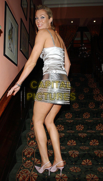 NELL MCANDREW.www.capitalpictures.com.©Capital Pictures.slingback heels, shoes, slingbacks, metallic silver skirt