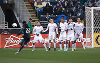 Keon Daniel, Lee Nguyen, Kelyn Rowe, Jerry Bengtson, Juan Carlos Toja, A.J. Soares.  The Philadelphia Union defeated the New England Revolution, 1-0, at PPL Park in Chester, PA.