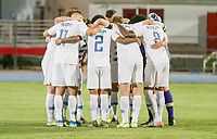 GEORGETOWN, GRAND CAYMAN, CAYMAN ISLANDS - NOVEMBER 19: United States starting eleven huddle during a game between Cuba and USMNT at Truman Bodden Sports Complex on November 19, 2019 in Georgetown, Grand Cayman.