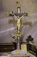 Pictured: A Crucifix in the artist's studio Friday 02 December 2016<br /> The Sidney Nolan Trust, Rodd, Herefordshire, England, UK