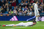 Garet Bale of Real Madrid reacts during the match of Spanish La Liga between Real Madrid and UD Las Palmas at  Santiago Bernabeu Stadium in Madrid, Spain. March 01, 2017. (ALTERPHOTOS / Rodrigo Jimenez)