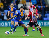 Lincoln City's Joe Morrell battles with Shrewsbury Town's Oliver Norburn<br /> <br /> Photographer Andrew Vaughan/CameraSport<br /> <br /> The EFL Sky Bet League One - Shrewsbury Town v Lincoln City - Saturday 11th January 2020 - New Meadow - Shrewsbury<br /> <br /> World Copyright © 2020 CameraSport. All rights reserved. 43 Linden Ave. Countesthorpe. Leicester. England. LE8 5PG - Tel: +44 (0) 116 277 4147 - admin@camerasport.com - www.camerasport.com