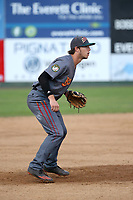 Danny Edgeworthy (17) of the Boise Hawks in the field during a game against the Everett AquaSox at Everett Memorial Stadium on July 20, 2017 in Everett, Washington. Everett defeated Boise, 13-11. (Larry Goren/Four Seam Images)