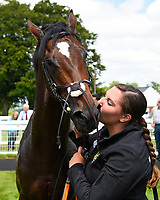 Initiative with stable Lass in the Winners enclosure during Afternoon Racing at Salisbury Racecourse on 13th June 2017
