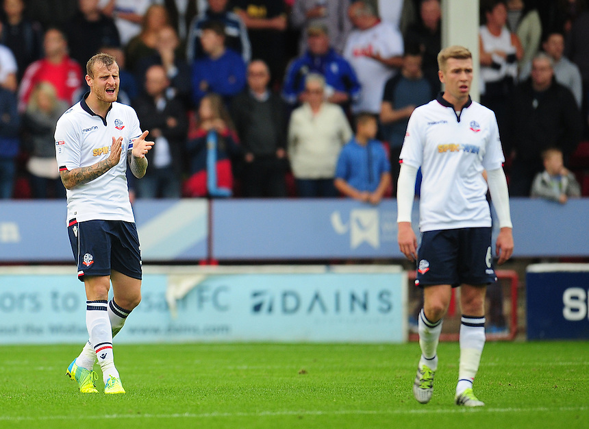 Bolton Wanderers' David Wheater rallies his side after they go behind<br /> <br /> Photographer Kevin Barnes/CameraSport<br /> <br /> The EFL Sky Bet League One - Walsall v Bolton Wanderers - Saturday 17th September 2016 - Banks's Stadium - Walsall<br /> <br /> World Copyright &copy; 2016 CameraSport. All rights reserved. 43 Linden Ave. Countesthorpe. Leicester. England. LE8 5PG - Tel: +44 (0) 116 277 4147 - admin@camerasport.com - www.camerasport.com