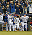 Royals team group,<br /> OCTOBER 5, 2014 - MLB :<br /> (L-R) Wade Davis, Johnny Giavotella, Norichika Aoki and Erik Kratz of the Kansas City Royals celebrate winning the American League Division Series (ALDS) Game 3 against the Los Angeles Angels at Kauffman Stadium in Kansas City, Missouri, United States. (Photo by AFLO)