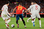 Spain's Rodrigo Moreno and England's Ben Chilwell (L) and Joe Gomez (R) during UEFA Nations League 2019 match between Spain and England at Benito Villamarin stadium in Sevilla, Spain. October 15, 2018. (ALTERPHOTOS/A. Perez Meca)