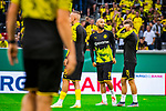 09.08.2019, Merkur Spiel-Arena, Düsseldorf, GER, DFB Pokal, 1. Hauptrunde, KFC Uerdingen vs Borussia Dortmund , DFB REGULATIONS PROHIBIT ANY USE OF PHOTOGRAPHS AS IMAGE SEQUENCES AND/OR QUASI-VIDEO<br /> <br /> im Bild | picture shows:<br /> die Reservisten des BVB waermen sich auf, (vl) Oemer Toprak (Borussia Dortmund #36), Marius Wolf (Borussia Dortmund #27) und Marcel Schmelzer (Borussia Dortmund #29), <br /> <br /> Foto © nordphoto / Rauch
