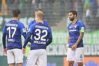 Schlussjubel Darmstadt nach dem 2:2 mit Sandru Sirigu (SV Darmstadt 98), Fabian Holland (SV Darmstadt 98) und Aytac Sulu (SV Darmstadt 98) - 01.10.2016: SV Darmstadt 98 vs. SV Werder Bremen, Johnny Heimes Stadion am Boellenfalltor