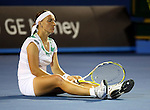 Svetlana Kuznetsova (RUS) sits on the during the match against  Serena Williams (USA) on day 10 of the Australian Open Tennis , 28-1-09