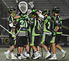 New York Lizards teammates celebrate after their 15-14 win over the Ohio Machine in a Major League Lacrosse game at Shuart Stadium in Hempstead, NY on Thursday, June 29, 2017.