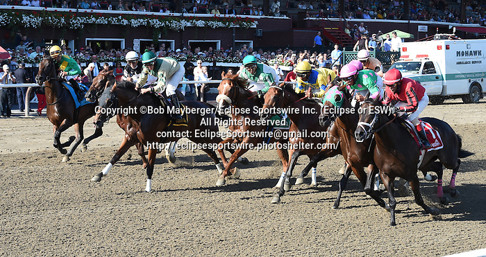 Star Grazing (no. 5), ridden by Angel Arroyo and trained by James Jerkens, wins the 1st running of the Fleet Indian Stakes for three year old fillies on August 24, 2014 at Saratoga Race Course in Saratoga Springs, New York.  (Bob Mayberger/Eclipse Sportswire)