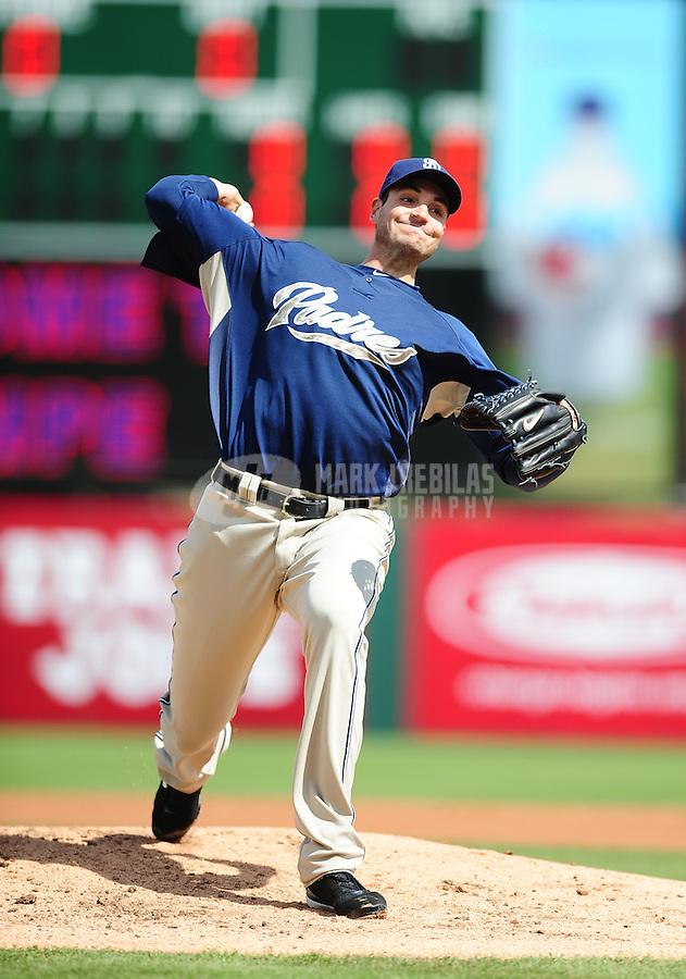 Mar. 9, 2010; Tempe, AZ, USA; San Diego Padres pitcher Chris Young throws against the Los Angeles Angels at Tempe Diablo Stadium. Mandatory Credit: Mark J. Rebilas-