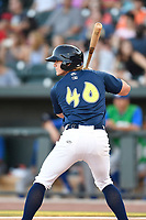 Third baseman Reed Gamache (40) of the Columbia Fireflies bats in a game against the Lexington Legends on Thursday, June 8, 2017, at Spirit Communications Park in Columbia, South Carolina. Columbia won, 8-0. (Tom Priddy/Four Seam Images)