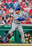 29 June 2017: Chicago Cubs catcher Victor Caratini pinch hits in the 9th inning against the Washington Nationals at Nationals Park in Washington, DC. The Cubs rallied to defeat the Nationals 5-4 and split their 4-game series. Mandatory Credit: Ed Wolfstein Photo *** RAW (NEF) Image File Available ***