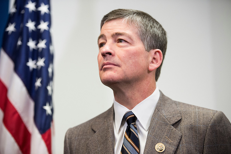 UNITED STATES - APRIL 14: Rep. Jeb Hensarling, R-Texas, listens as House GOP leaders speak to reporters following the House Republican Conference meeting in the Capitol on Tuesday, April 14, 2015. (Photo By Bill Clark/CQ Roll Call)