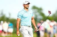 Jason Day reacts following his putt on the 16th green during the 2016 U.S. Open in Oakmont, Pennsylvania on June 18, 2016. (Photo by Jared Wickerham / DKPS)