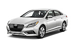 2016 Hyundai Sonata-Plug-in-Hybrid Limited 4 Door Sedan Angular Front stock photos of front three quarter view